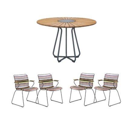 """Houe Gartenmöbel-Set mit Tisch Ø 110 cm """"Circle"""" und vier Stapelsessel """"Click"""", Lamellen bunt"""