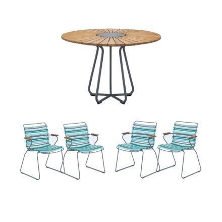 """Houe Gartenmöbel-Set mit Tisch Ø 110 cm """"Circle"""" und vier Stapelsessel """"Click"""", Lamellen bunt (kühle Farben)"""