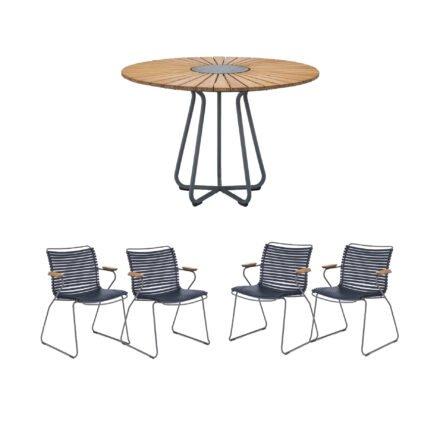 """Houe Gartenmöbel-Set mit Tisch Ø 110 cm """"Circle"""" und vier Stapelsessel """"Click"""", Lamellen dunkelblau"""
