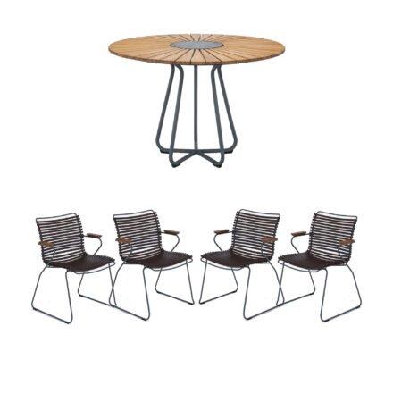"""Houe Gartenmöbel-Set mit Tisch Ø 110 cm """"Circle"""" und vier Stapelsessel """"Click"""", Lamellen dunkelbraun"""