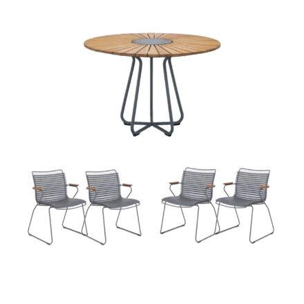 """Houe Gartenmöbel-Set mit Tisch Ø 110 cm """"Circle"""" und vier Stapelsessel """"Click"""", Lamellen dunkelgrau"""