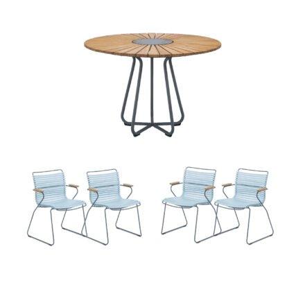 """Houe Gartenmöbel-Set mit Tisch Ø 110 cm """"Circle"""" und vier Stapelsessel """"Click"""", Lamellen hellblau"""