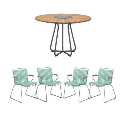 """Houe Gartenmöbel-Set mit Tisch Ø 110 cm """"Circle"""" und vier Stapelsessel """"Click"""", Lamellen hellgrün"""