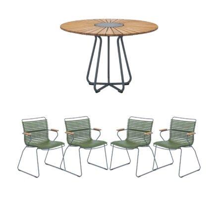 """Houe Gartenmöbel-Set mit Tisch Ø 110 cm """"Circle"""" und vier Stapelsessel """"Click"""", Lamellen olivgrün"""