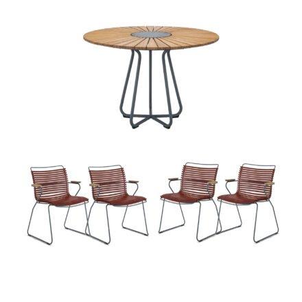 """Houe Gartenmöbel-Set mit Tisch Ø 110 cm """"Circle"""" und vier Stapelsessel """"Click"""", Lamellen paprika"""
