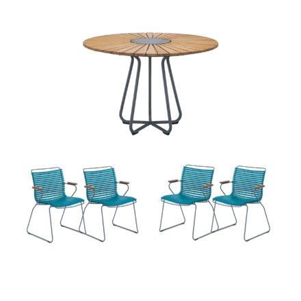 """Houe Gartenmöbel-Set mit Tisch Ø 110 cm """"Circle"""" und vier Stapelsessel """"Click"""", Lamellen petrol"""