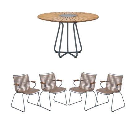 """Houe Gartenmöbel-Set mit Tisch Ø 110 cm """"Circle"""" und vier Stapelsessel """"Click"""", Lamellen sand"""