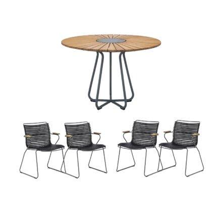 """Houe Gartenmöbel-Set mit Tisch Ø 110 cm """"Circle"""" und vier Stapelsessel """"Click"""", Lamellen schwarz"""