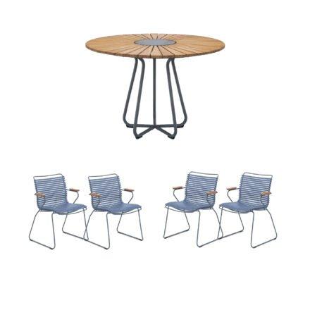 """Houe Gartenmöbel-Set mit Tisch Ø 110 cm """"Circle"""" und vier Stapelsessel """"Click"""", Lamellen taubenblau"""