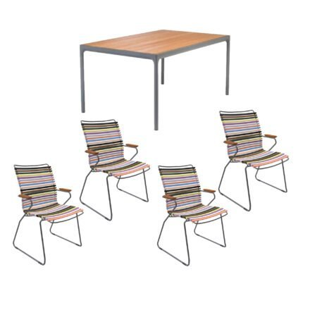 """Houe Gartenmöbel-Set mit Tisch 160x90 cm """"Four"""" und acht Stapelstühlen """"Click"""", Lamellen bunt"""