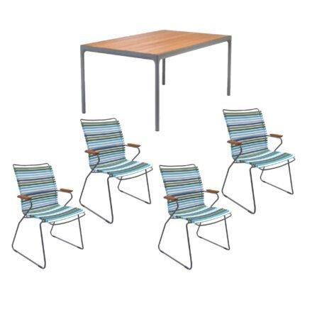 """Houe Gartenmöbel-Set mit Tisch 160x90 cm """"Four"""" und acht Stapelstühlen """"Click"""", Lamellen bunt (kühle Farben)"""