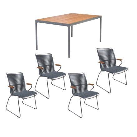 """Houe Gartenmöbel-Set mit Tisch 160x90 cm """"Four"""" und acht Stapelstühlen """"Click"""", Lamellen dunkelgrau"""