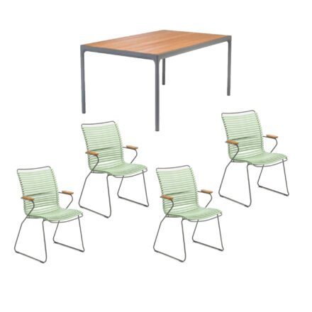 """Houe Gartenmöbel-Set mit Tisch 160x90 cm """"Four"""" und acht Stapelstühlen """"Click"""", Lamellen hellgrün"""