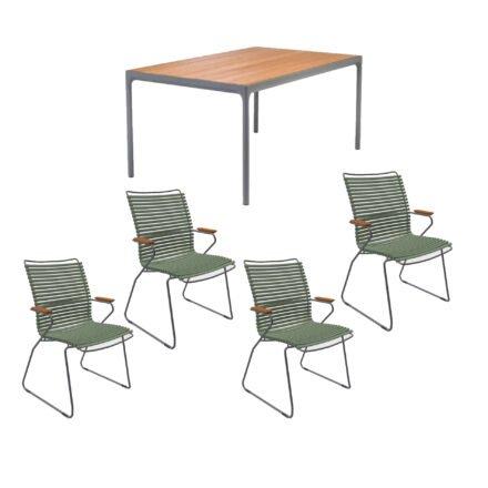 """Houe Gartenmöbel-Set mit Tisch 160x90 cm """"Four"""" und acht Stapelstühlen """"Click"""", Lamellen olivgrün"""