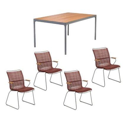 """Houe Gartenmöbel-Set mit Tisch 160x90 cm """"Four"""" und acht Stapelstühlen """"Click"""", Lamellen paprika"""