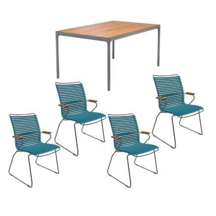 """Houe Gartenmöbel-Set mit Tisch 160x90 cm """"Four"""" und acht Stapelstühlen """"Click"""", Lamellen petrol"""