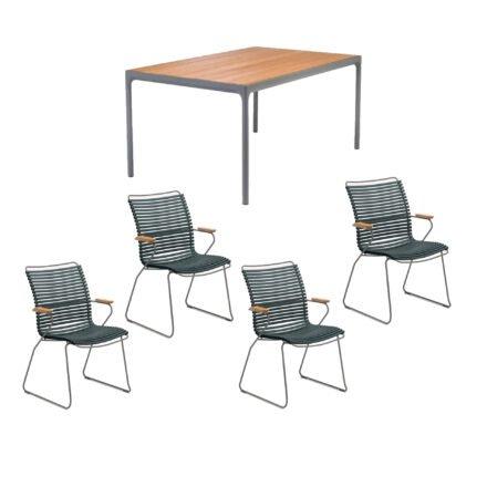 """Houe Gartenmöbel-Set mit Tisch 160x90 cm """"Four"""" und acht Stapelstühlen """"Click"""", Lamellen pinegreen"""