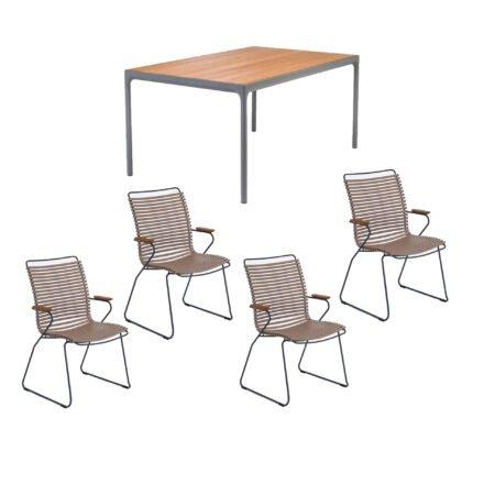 """Houe Gartenmöbel-Set mit Tisch 160x90 cm """"Four"""" und acht Stapelstühlen """"Click"""", Lamellen sand"""