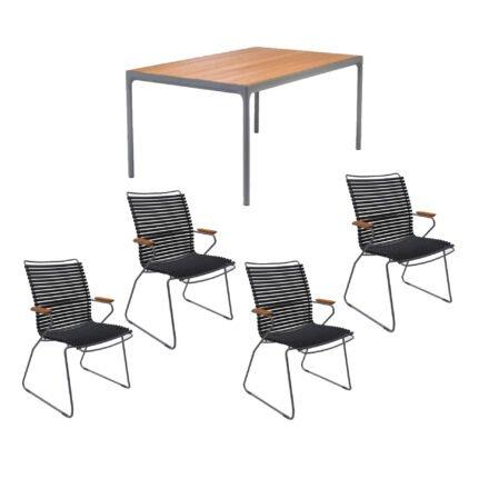 """Houe Gartenmöbel-Set mit Tisch 160x90 cm """"Four"""" und acht Stapelstühlen """"Click"""", Lamellen schwarz"""