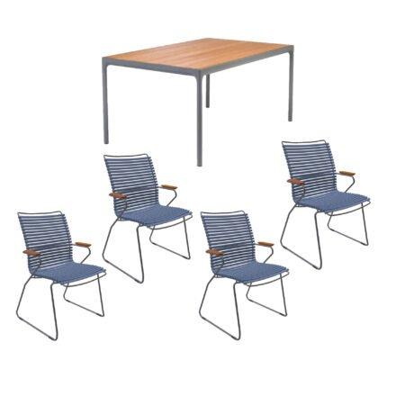 """Houe Gartenmöbel-Set mit Tisch 160x90 cm """"Four"""" und acht Stapelstühlen """"Click"""", Lamellen taubenblau"""