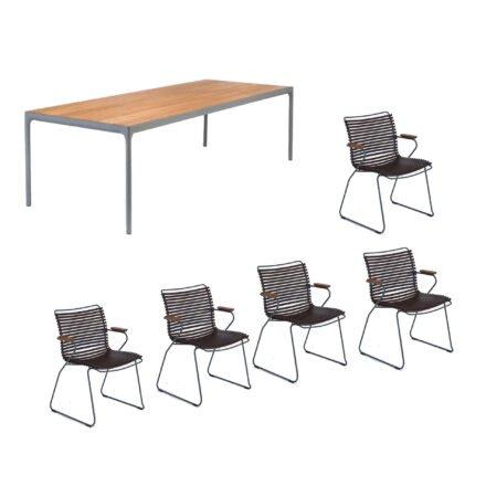 """Houe Gartenmöbel-Set mit Tisch """"Four"""" und acht Stapelstühlen """"Click"""", Lamellen dunkelbraun"""