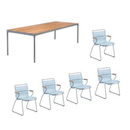 """Houe Gartenmöbel-Set mit Tisch """"Four"""" und acht Stapelstühlen """"Click"""", Lamellen hellblau"""