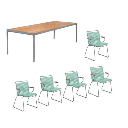 """Houe Gartenmöbel-Set mit Tisch """"Four"""" und acht Stapelstühlen """"Click"""", Lamellen hellgrün"""