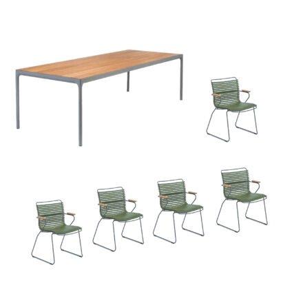 """Houe Gartenmöbel-Set mit Tisch """"Four"""" und acht Stapelstühlen """"Click"""", Lamellen olivgrün"""