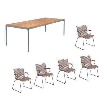 """Houe Gartenmöbel-Set mit Tisch """"Four"""" und acht Stapelstühlen """"Click"""", Lamellen sand"""