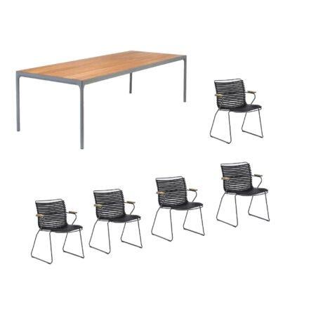 """Houe Gartenmöbel-Set mit Tisch """"Four"""" und acht Stapelstühlen """"Click"""", Lamellen schwarz"""