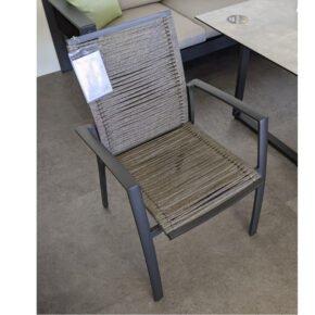 "Jati&Kebon ""Sevilla"" Stapelstuhl, Gestell Aluminium eisengrau, Sitzfläche Rope grey melange, Ausstellung Weil"