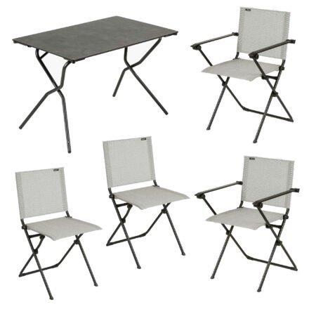 """Lafuma Gartenmöbel-Set """"Anytime"""" mit einem Klapptisch und vier Klappstühlen, Gestelle Stahl schwarz, Tischplatte HPL, Textilgewebe Batyline galet"""
