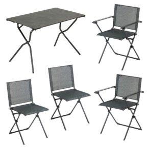 """Lafuma Gartenmöbel-Set """"Anytime"""" mit einem Klapptisch und vier Klappstühlen, Gestelle Stahl schwarz, Tischplatte HPL, Textilgewebe Batyline obsidian"""