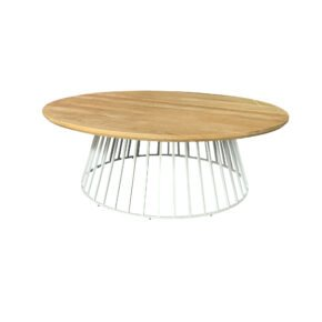 "Solpuri ""Grid Loungetisch, Gestell Aluminium weiß, Teakplatte"