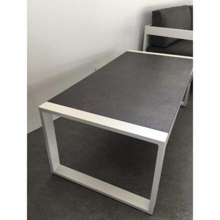 """Stern """"Allround"""" Beistelltisch, Alu weiß, Tischplatte HPL Vintage braun - Ausstellung Stockach"""