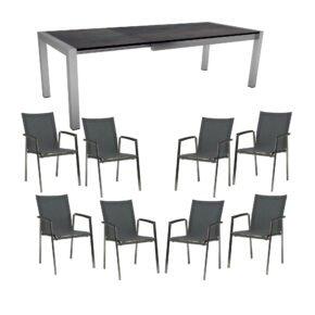 """Stern Gartenmöbel-Set mit Stapelsessel """"New Top"""" und Ausziehtisch 214/254/294x100 cm, Gestelle Edelstahl, Tischplatte NPL Nitro"""