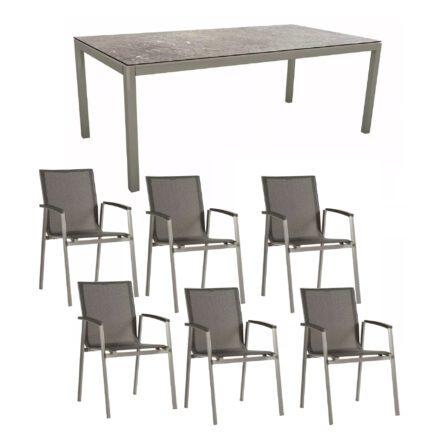 """Stern Gartenmöbel-Set mit Stuhl """"New Top"""" und Gartentisch Aluminium/HPL, Gestell Aluminium graphit, Sitz Textil silbergrau, Tischplatte HPL Vintage stone"""