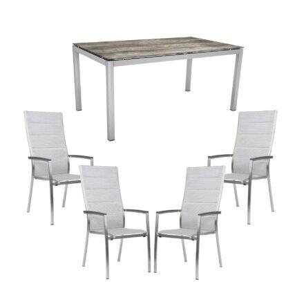 """Stern Gartenmöbel-Set mit 4x Hochlehner """"Cardiff"""" gepolstert und 1x Gartentisch 160x90 cm, Edelstahl, HPL Tundra grau"""