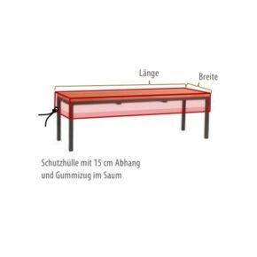 Gartenkultur Wunschmaß-Schutzhülle für Gartenbänke ohne Rückenlehne, Sitzflächenhülle mit 15 cm Abhang