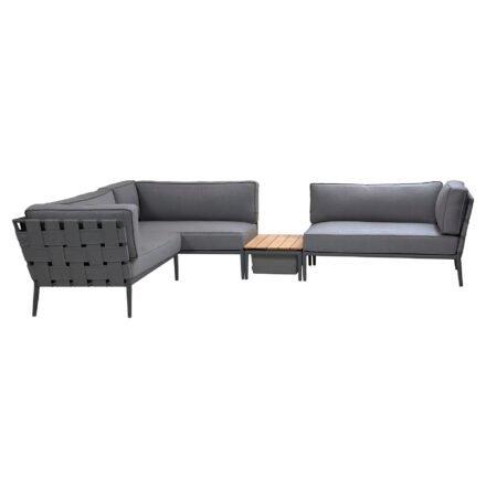 "Cane-line Loungeset ""Conic"", Gestell: Aluminium lavagrau, Kissen: grau mit Loungetisch mit Box"