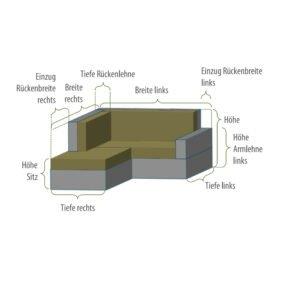 Gartenkultur Wunschmaß-Schutzhülle für Loungegruppe in L-Form mit offenem Ende rechts