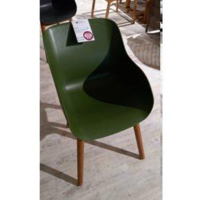 """Hartman """"Sophie Teak"""" Organic Chair, Gestell Teakholz, Sitzschale Kunststoff moss green, Ausstellung Weil"""