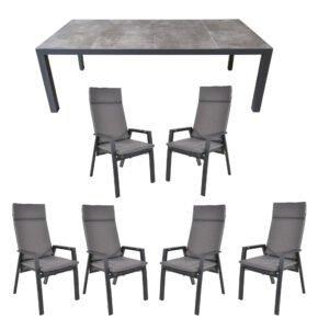 """Lesli Living Set mit """"Murcia"""" Tisch 220x100 cm, Aluminium/Keramik stone, """"Amir"""" Hochlehner Aluminium anthrazit matt, """"Grigio"""" Auflage anthrazit"""