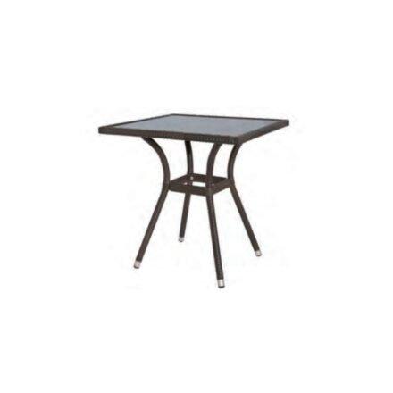 """Siena Garden """"Alto"""" Gartentisch 70x70 cm, Polyrattan bicolor-braun, Tischplatte Glas"""