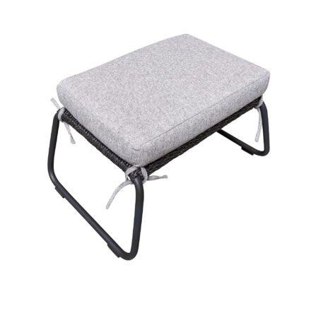 "SIT Mobilia ""Allanis"" Gartenhocker, Gestell Aluminium eisengrau, Polyrattan-Geflecht Twisted Ebony, Kissen Olefin white/grey"