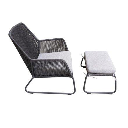 "SIT Mobilia ""Allanis"" Gartensessel und -hocker, Gestell Aluminium eisengrau, Polyrattan-Geflecht Twisted Ebony, Kissen Olefin white/grey"