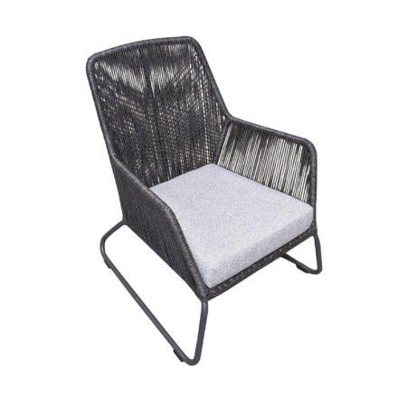 """SIT Mobilia """"Allanis"""" Gartensessel hoch, Gestell Aluminium eisengrau, Polyrattan-Geflecht Twisted Ebony, Kissen Olefin white/grey"""