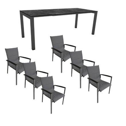 """Gartenmöbel-Set mit Stern Ausziehtisch 160/210x90 cm und Stuhl """"Foxx"""" von Tierra, Aluminium anthrazit, HPL Dark Marble"""