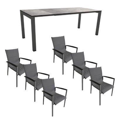 """Gartenmöbel-Set mit Stern Ausziehtisch 160/210x90 cm und Stuhl """"Foxx"""" von Tierra, Aluminium anthrazit, HPL Metallic grau"""