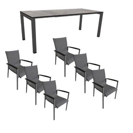 """Gartenmöbel-Set mit Stern Ausziehtisch 160/210x90 cm und Stuhl """"Foxx"""" von Tierra, Aluminium anthrazit, HPL Smoky"""